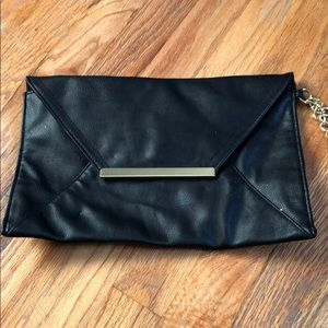 Forever 21 Faux Leather Clutch Purse w Gold